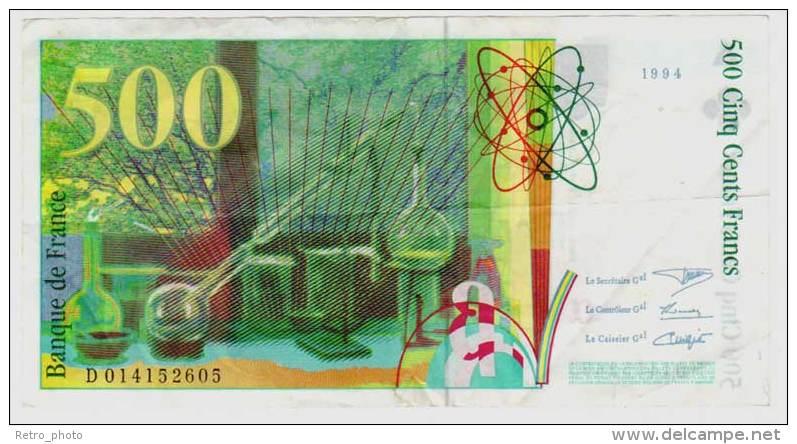 Billet 500 Francs Pierre Et Marie Curie 1994 - 1992-2000 Dernière Gamme