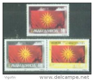 MK 1993-04-6 FLAG, MAKEDONIA, 3SHEET OF 50v, MNH - Mazedonien
