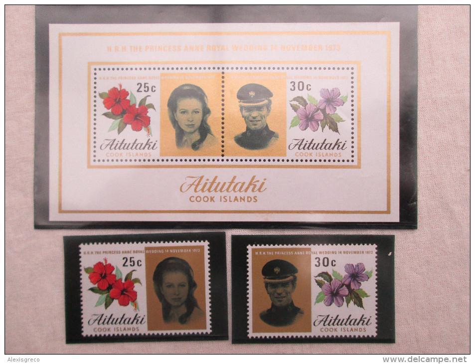 AITUTAKI (COOK ISLANDS) 1973 ROYAL WEDDING Princess ANNE To MARK PHILLIPS SET TWO STAMPS + MINISHEET MNH. - Aitutaki