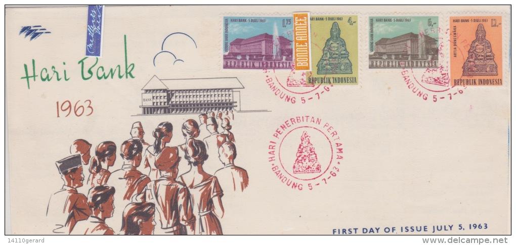 REPUBLIQUE INDONESIE  LOT DE 3 ENVELOPPES  1963+1964 - Indonesia