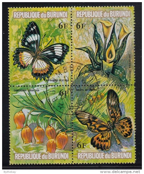 Burundi Used Scott #439 Block Of 4 6fr Flowers And Butterflies - Burundi