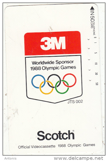 JAPAN - 3M Official Worldwide Sponsor Of The Seoul 1988 Olympics, NTT Telecard 50 Units(110-23473), Used - Jeux Olympiques