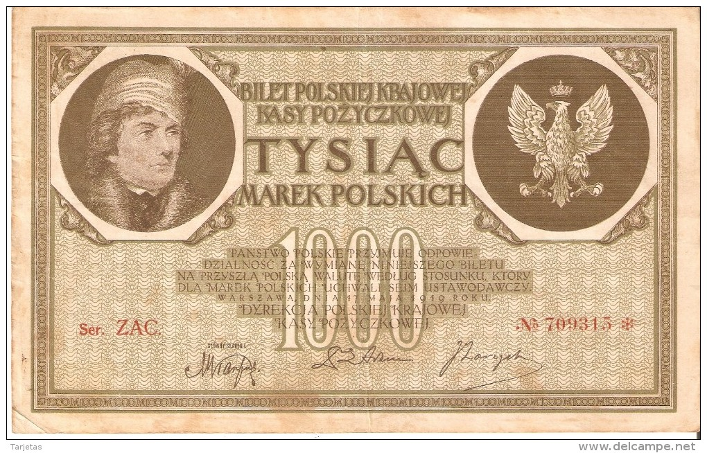 BILLETE DE POLONIA DE 1000 MAREK DEL AÑO 1919 SERIE ZAC CON ASTERISCO-STAR (BANKNOTE) - Polonia
