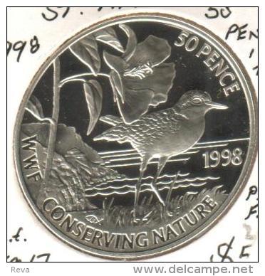 SAINT HELENA 50 PENCE BIRD WWF CONSERVATION FRONT QEII HEAD BACK 1998 KM17 AG SILVER PROOFREAD DESCRIPTION CAREFULLY !!! - Sainte-Hélène
