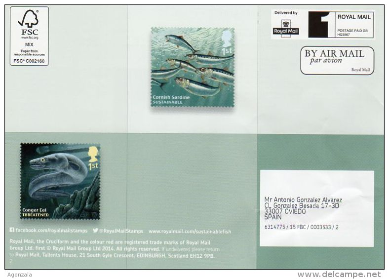 ROYAL MAIL COMMUNICATION STAMPS EMISSION 2014 SUSTAINABLE FISH INDIGENOUS STOCKS - Gran Bretaña