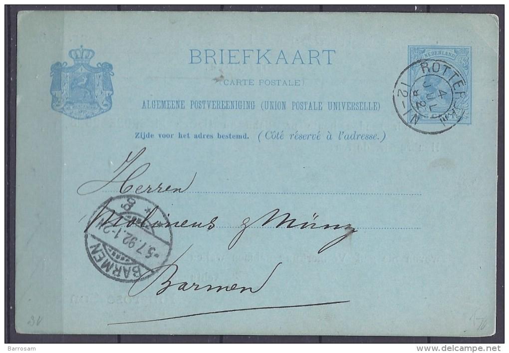 Netherlands1891: Michel P22used - Postal Stationery
