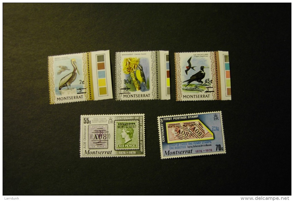Montserrat 330-31 Centennary Of Postage Stamps Stamp On Stamp 337-39 Surcharges On Birs Stamps MNH 1976 A04s - Montserrat