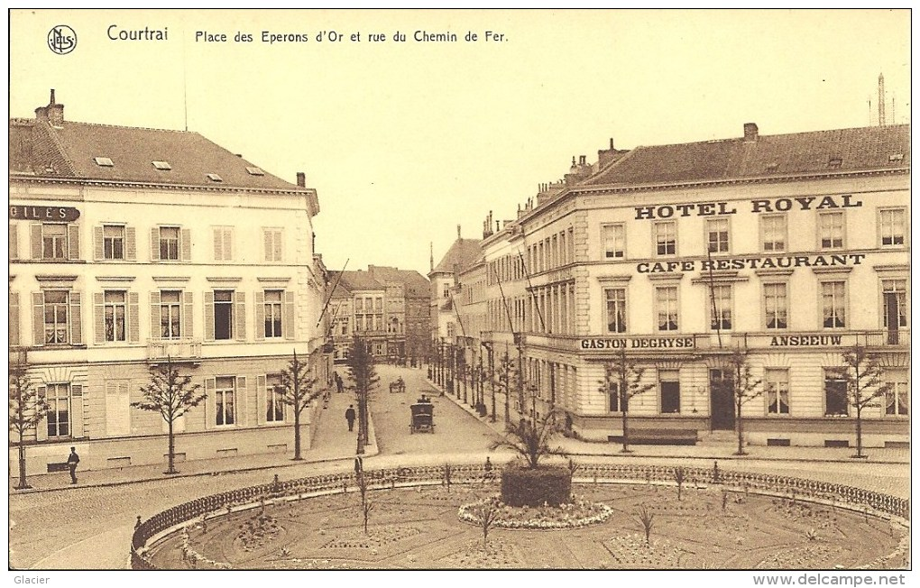 COURTRAI - Place Des Eperons D' Or Et Rue Du Chemin De Fer - Edit. R. Verreyst-Deblon - Kortrijk