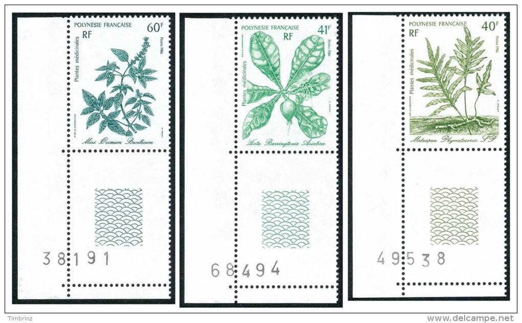 POLYNESIE 1986 - Yv. 268 à 270 ** SUP Cdf Num  Faciale= 1,42 EUR - Plantes Médicinales (3 Val.) ..Réf.POL21955 - Französisch-Polynesien