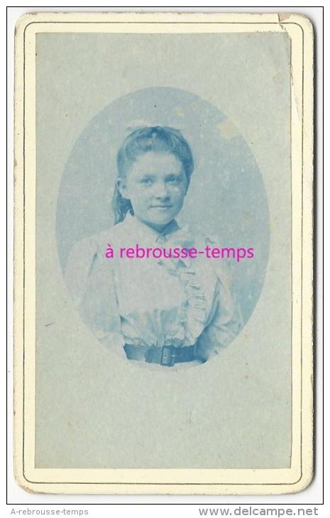 CDV Bleue- Technique Cyanotype? Jolie Jeune Fille -photo Anonyme - Photos
