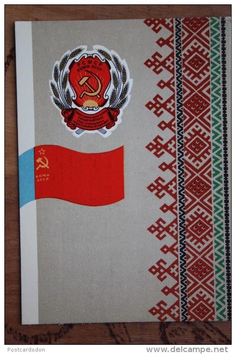 RUSSIA . KOMI - Old USSR Postcard Autonomous Republic Emblem (Coat Of Arms And Republic Flag Of The Rep - 1972 - Cartes Postales