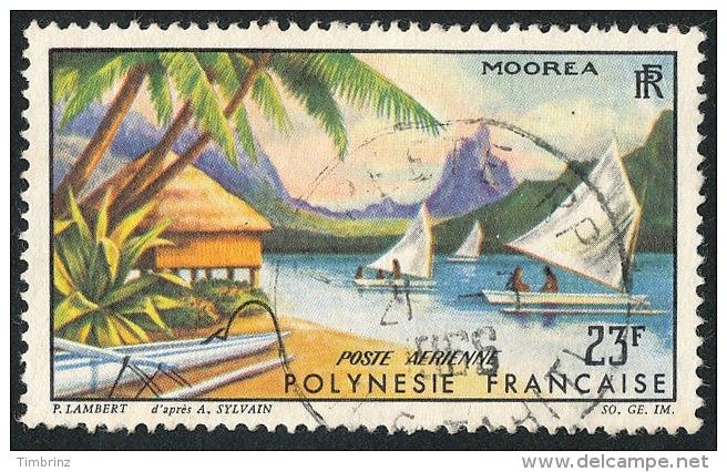 POLYNESIE 1964 - Yv. PA 9 Obl. TB  Cote= 4,00 EUR - Paysage De Moorea ..Réf.POL22115 - Poste Aérienne