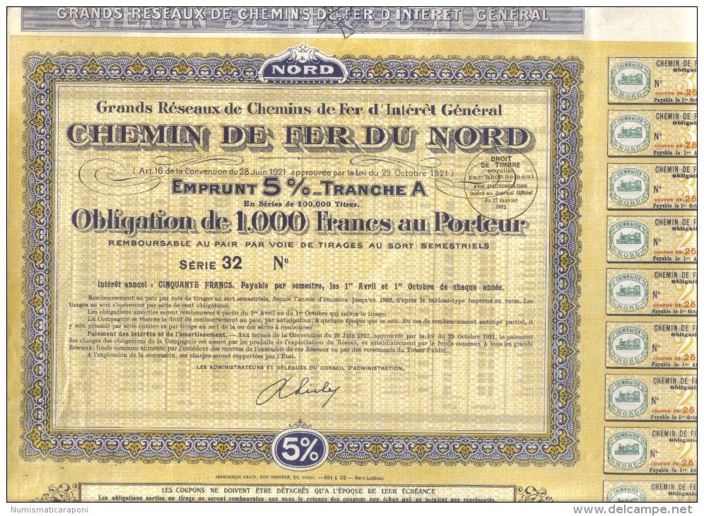 CHEMIN DE FER DU NORD OBLIGATION DE 1000 FRANCS AU PORTEUR Cod.doc.073 - Chemin De Fer & Tramway
