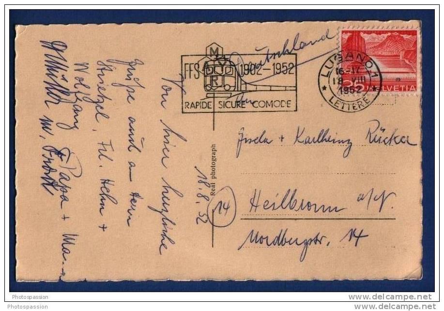 Oblitération De Lugano Le 18.8.1952 - Avec Flamme Des SBB-CFF-FFS 1902-1952 - Trains