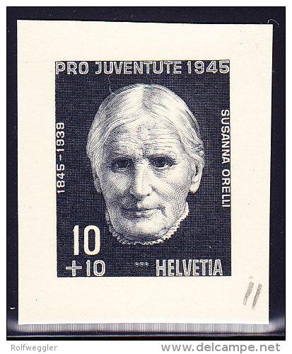 Bickel Probedruck - 1945 Ungezähnt Aus Bickelarchiv Schwarz Auf Kartonpapier - Susanna Orelli - - Pro Juventute