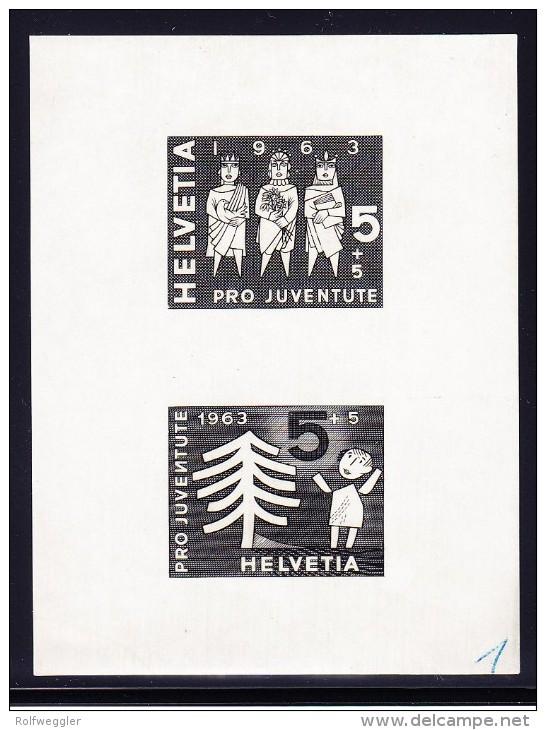 Pro Juventute 1963 - Essay 2 Weinachts Motive Auf Ausschuss Papier Aus Bickel Archiv - Sujet 1 - Pro Juventute
