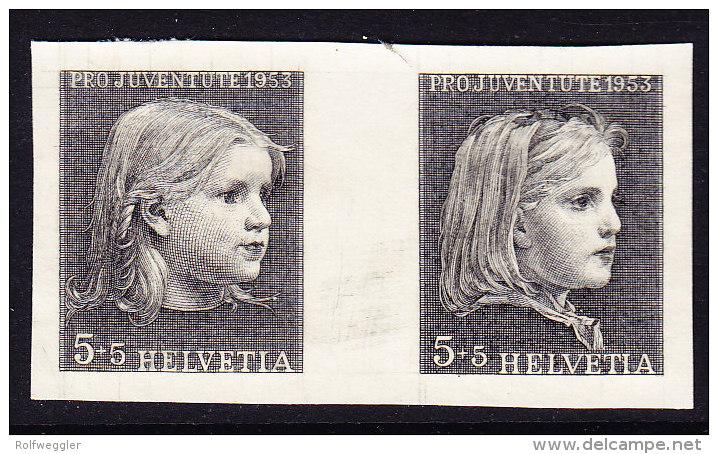 Pro Juventute 1953 Ungez.Probedruckpaar - 2 Verschiedenen Anker Mädchen Köpfe Auf Festem Papier Aus Bickel Archiv - Neufs