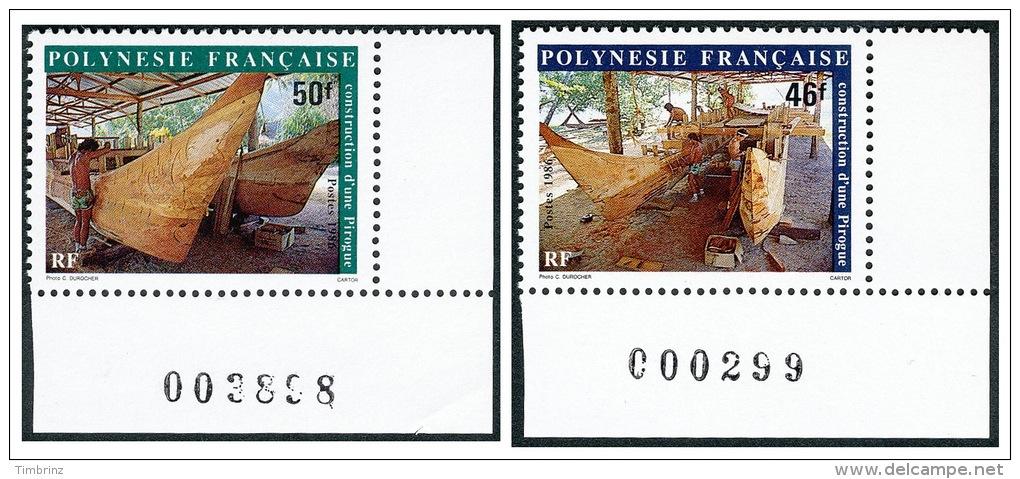 POLYNESIE 1986 - Yv. 266 Et 267 ** TB Cdf Num  Cote= 3,00 EUR - Construction D'une Pirogue (2 Val.) ..Réf.POL21953 - Französisch-Polynesien