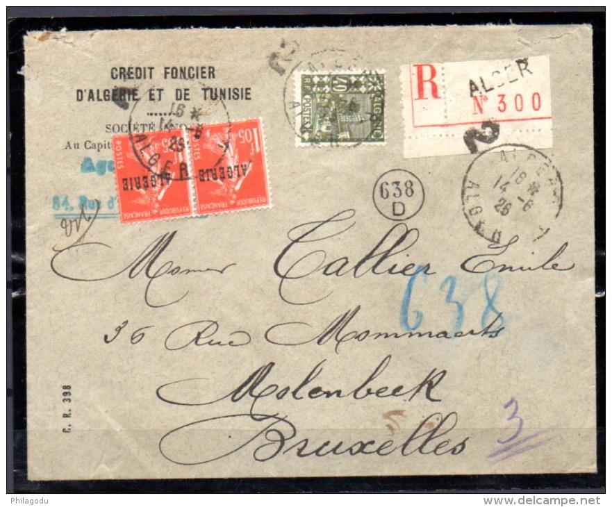 Lettre D'Alger Vers Bruxelles, Semeuse Surchargée, Cote Dallay 25 €, - Algeria (1924-1962)