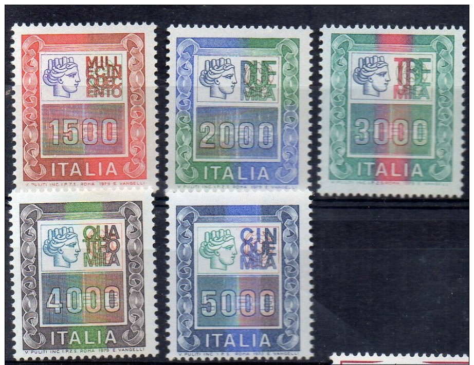 ITALIA 1978-87   CINQUE ALTI VALORI SERIE ORDINARIA  NUOVI MNH ** - 1971-80:  Nuevos