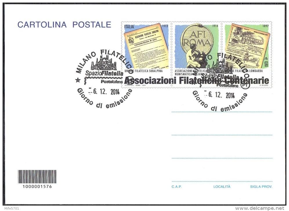 Repubblica Italiana - Intero Postale - ASSOCIAZIONI FILATELICHE ITALIANE CENTENARIE - 2014 - Euro 0,80 - FDC - 6. 1946-.. Republic