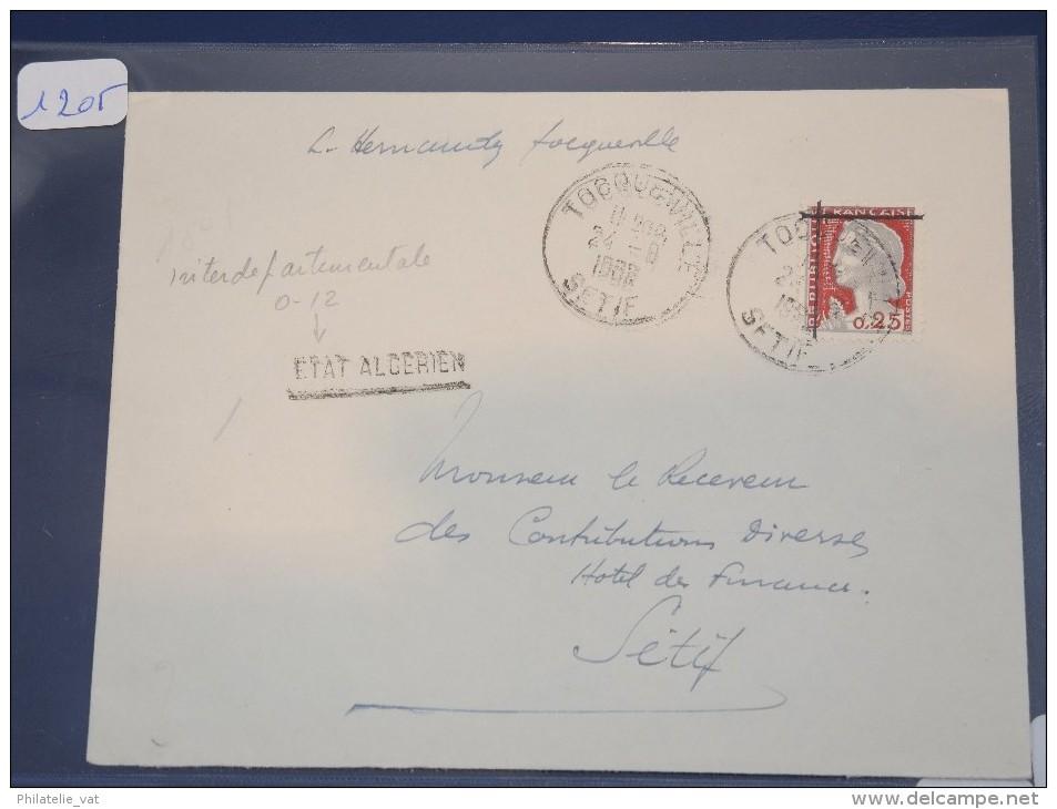 ALGERIE - EA Sur Lettre Recommandée De Setif 1962 - Surcharge à La Main -  Détaillons Collection - Lot 1205 - Algeria (1924-1962)