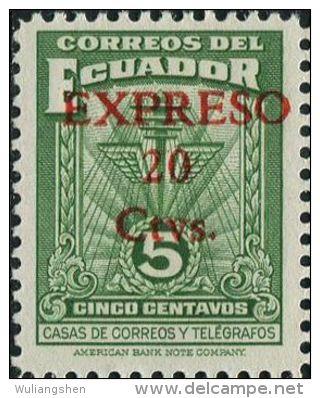 JA0184 Ecuador 1943 Communication Cable Surcharged 1v MNH - Ecuador