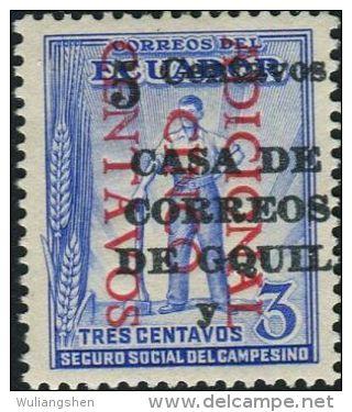 JA0174 Ecuador 1943 Worker Surcharged 1v MNH - Ecuador