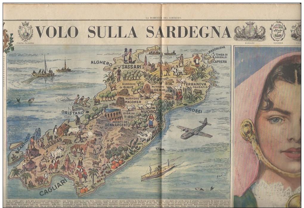 Rivista Del 1950  Splendida Doppia Pagina Centrale Della SARDEGNA Nuoro Cagliari Oristano Sassari Alghero Ozieri Caprera - Ante 1900