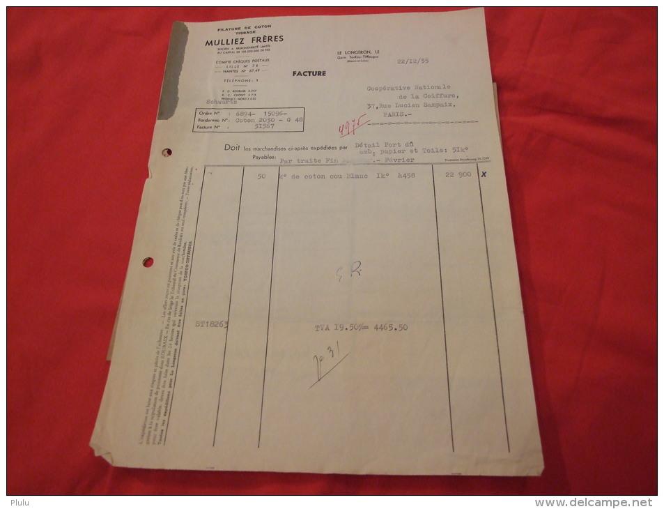 MULLIEZ FRÈRES À LE LONGERON (49710). FACTURE DE 1955. - France