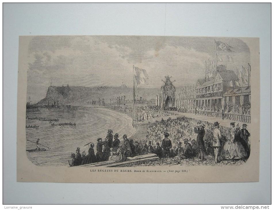 GRAVURE 1869. LES REGATES DU HAVRE................. - Prints & Engravings