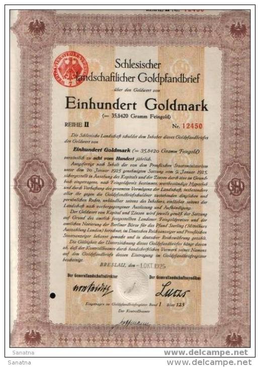 Deutshland.Schlesischer Landschaftlicher Goldpfanbrief.100GM - Banque & Assurance
