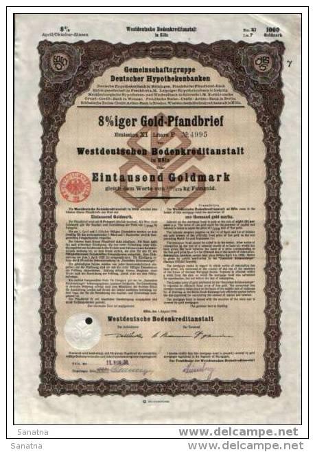 Kolner 8% Goldpfanbrief.1000 GM - Banque & Assurance