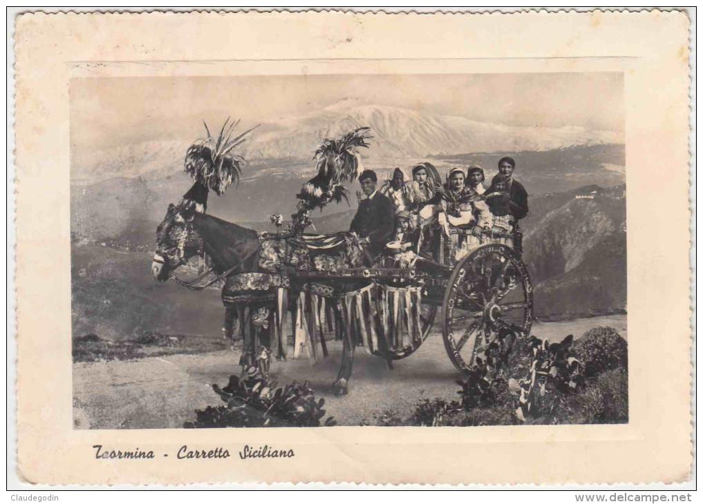 Taormina. Carretto Siciliano. Chariot Sicilien.  Costumes Traditionnels. Rare. Pas Vue Sur Delcampe. Grd Format. 2 Scans - Italia
