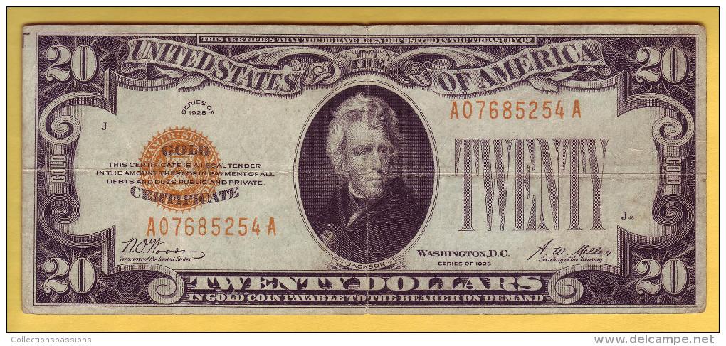 USA - Billet De 20 Dollars. GOLD CERTIFICATS. 1928. Pick: 401. TB+ - Certificats D'Or (1928)