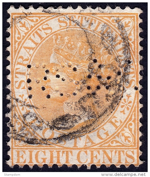 STRAITS SETTLEMENTS 1882 8c Sc#49 W.CrownCA PERFIN [P760] - Straits Settlements