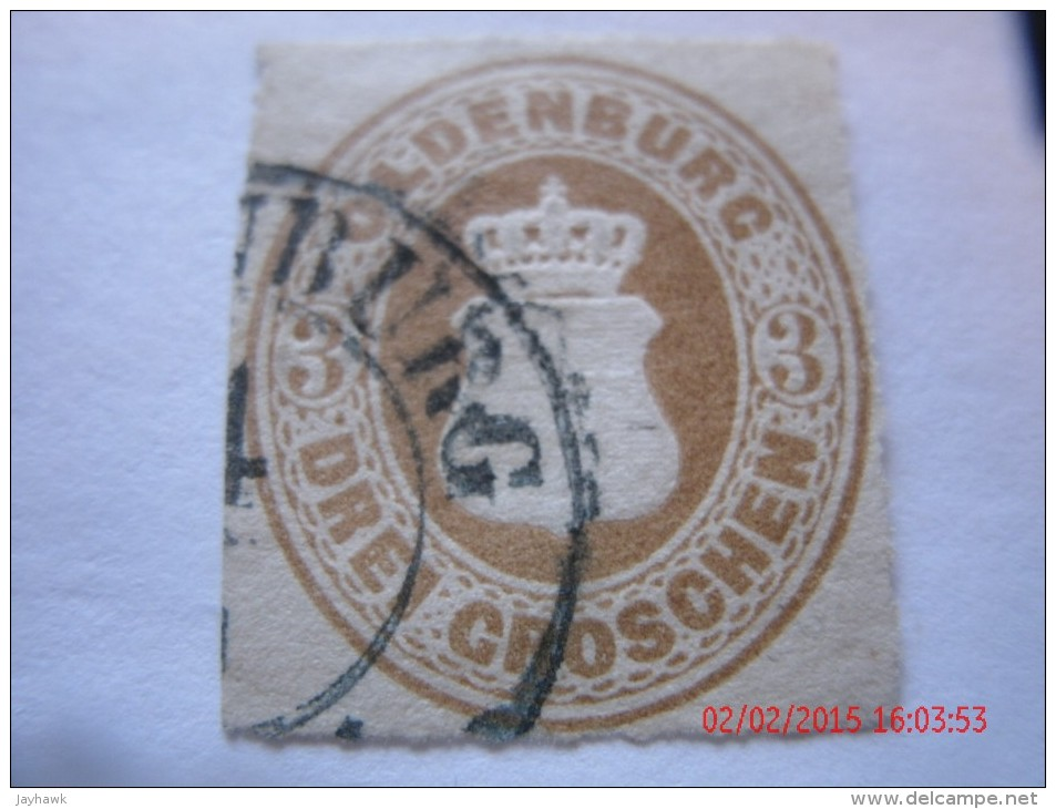 OLDENBURG, SCOTT# 20, 3 G BISTER BROWN, USED - Oldenbourg