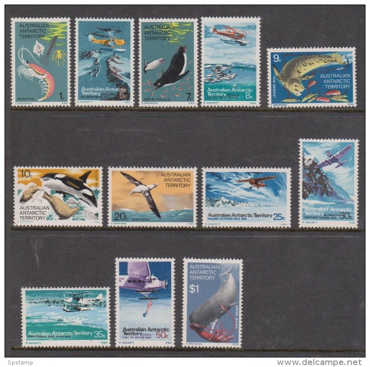 Australian Antarctic Territory 1973 Food Chain & Aircraft Definitive Set 12 MNH - Australian Antarctic Territory (AAT)