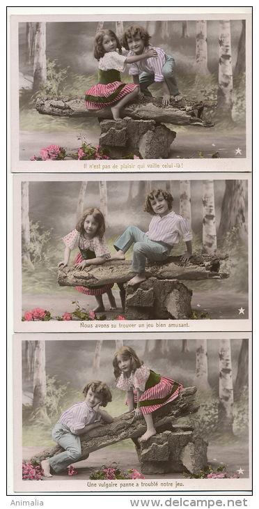 Jeu De Balançoire Sur Tronc Arbre Wooden String 3 Cartes - Cartes Postales