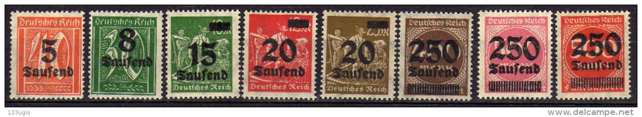 Deutsches Reich, 1923, Mi 277-281; 295-296 ** [030115L] - Ungebraucht