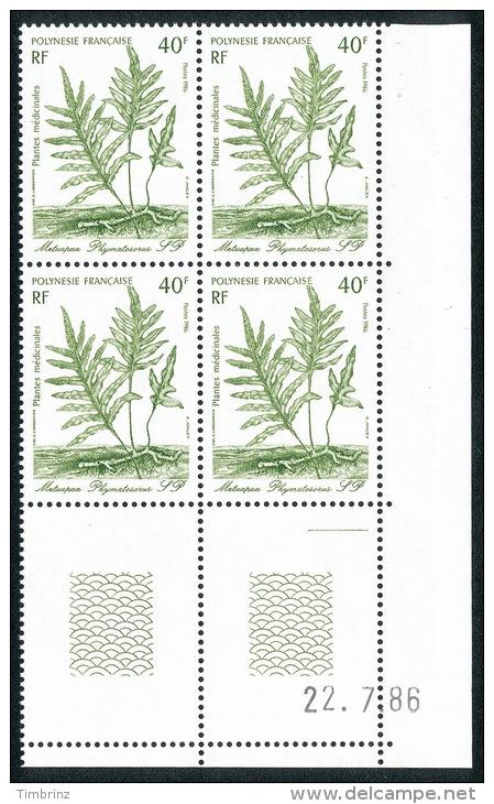 POLYNESIE 1986 - Yv. 268 à 270 ** SUP Bloc De 4 Coin Daté  Cote= 21,75 EUR - Plantes Médicinales (3 Val) ..Réf.POL22080 - Nuevos