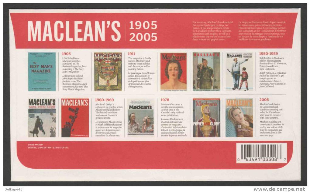 Canada 2005 FDC + Mi 2273 - Magazine Covers Of 1911, 1954, 1962, 1917 – Cent. Maclean's Magazine /  Titelblätter - 2001-2010