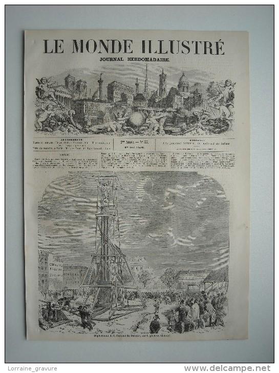 GRAVURE 1858. PARIS. DEPLACEMENT DE LA FONTAINE DU PALMIER, SUR LA PLACE DU CHATELET. - Prints & Engravings