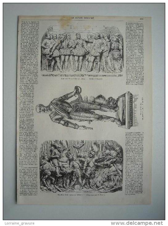 GRAVURE 1858. LES FETES D'AVIGNON; STATUE DE CRILLON. BAS-RELIEF DE LA STATUE DE CRILLON. FIN D'EXPLICATIF............ - Prints & Engravings
