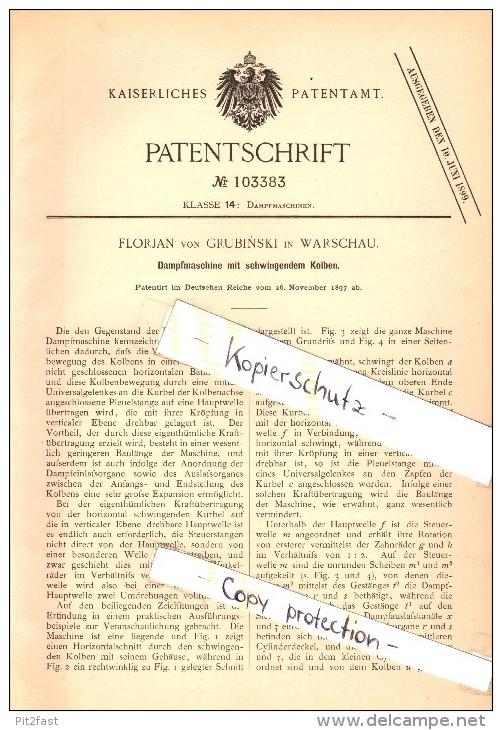Original Patentschrift - Florian Von Grubinski In Warschau , 1897 , Dampfmaschine Mit Schwingendem Kolben !!! - Boats