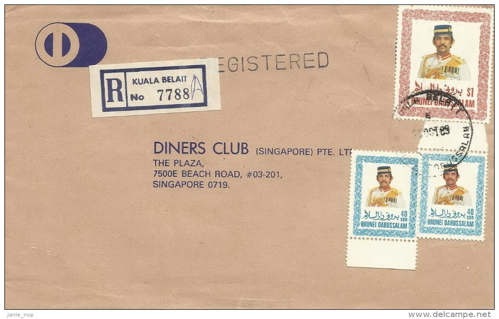 Brunei 1989 Registered Cover With 40cx 2 And $ 1.00 Stamps - Brunei (1984-...)