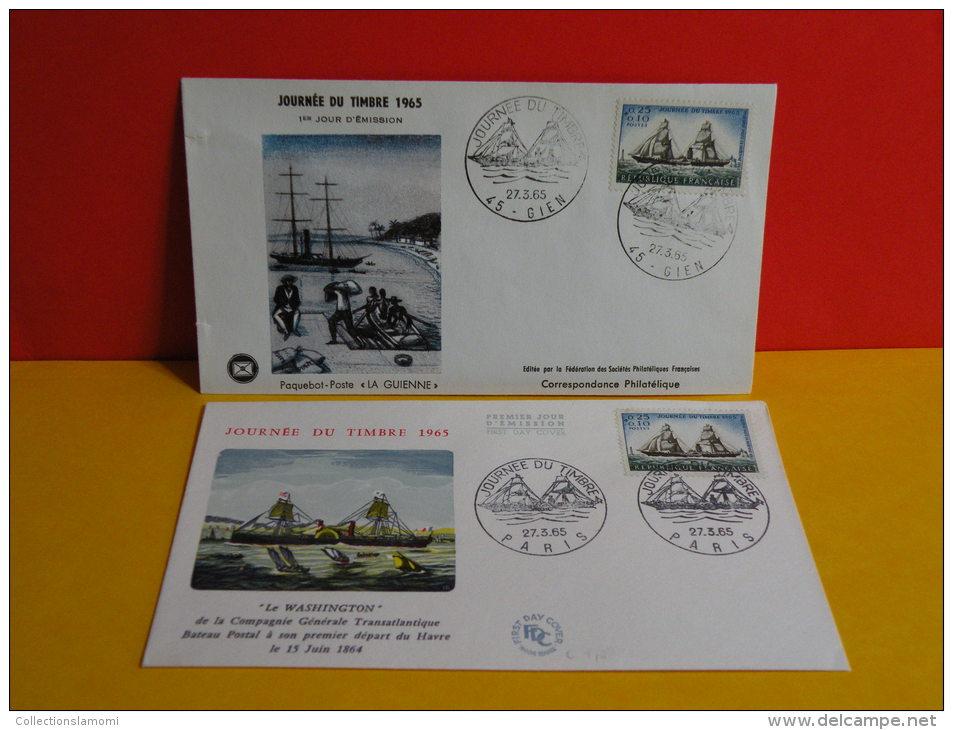 FDC- Journée Du Timbre, Le Washington Bateau Postal 1864 - Paris/Gien(45) - 27.3.1965 - 1er Jour, Cote 8 € Lot 2 FDC - FDC