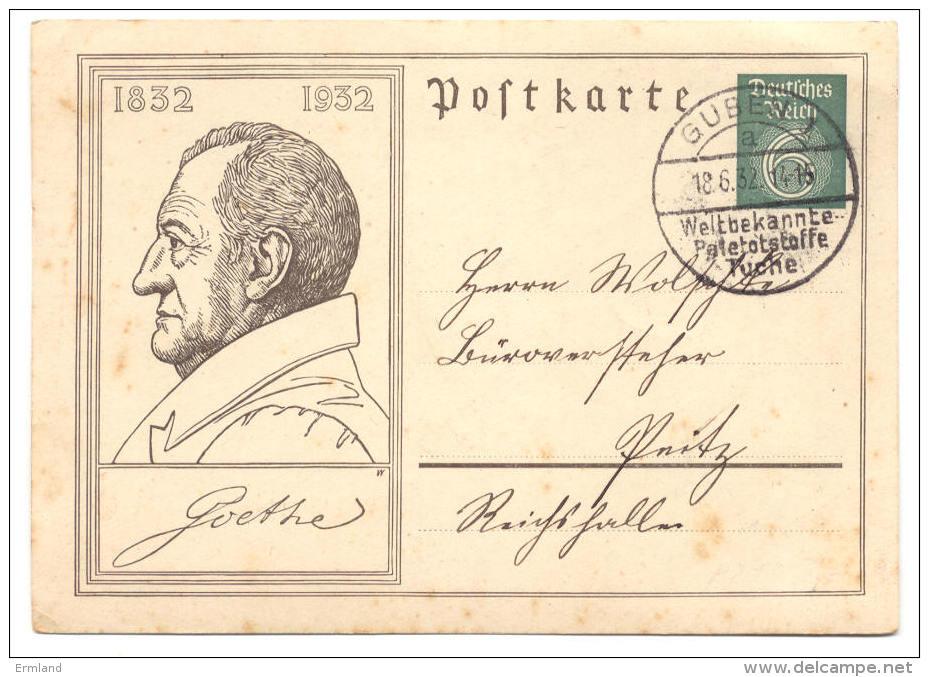 GS Deutsches Reich Postkarte 1932 Von Guben - Ganzsachen