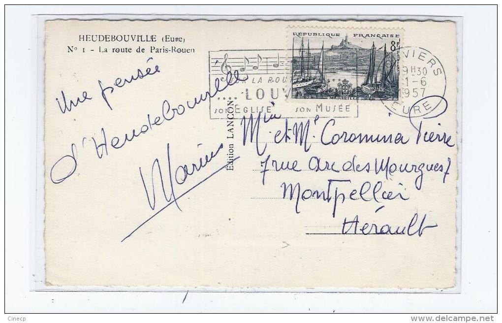 CPSM 27 - HEUDEBOUVILLE - La Route De Paris-Rouen - TB PLAN Café à Droite + Station Service ESSO - Autres Communes
