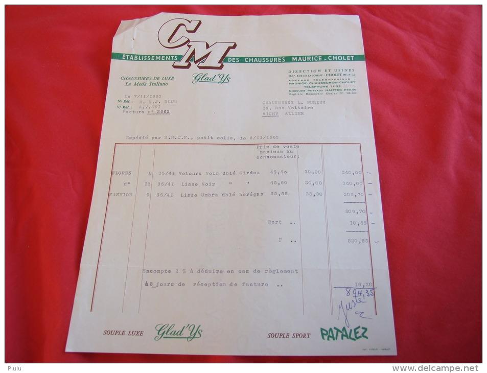 CHAUSSURES MAURICE À CHOLET (49300). FACTURE DE 1963. - France